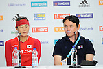 The Hague, Netherlands, June 13: Jongeun Kim #11 of Korea and head coach Jin Soo Han of Korea during press conference after the field hockey placement match (Women - Place 7th/8th) between Korea and Germany on June 13, 2014 during the World Cup 2014 at Kyocera Stadium in The Hague, Netherlands. Final score 4-2 (2-0)  (Photo by Dirk Markgraf / www.265-images.com) *** Local caption ***