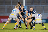 27th December 2020; AJ Bell Stadium, Salford, Lancashire, England; English Premiership Rugby, Sale Sharks versus Wasps; Valery Morozov of Sale Sharks is tackled by Thomas Young of Wasps
