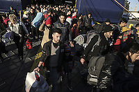 Pictured: Migrants arrive to the port of Piraeus Monday 22 February 2016<br /> Re: Thousands of migrants, most from Syria, have landed to the port of Pireaus, after crossing the border from Turkey to various islands like Lesvos and Kos in Greece.