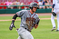 Quad Cities River Bandits first baseman Seth Beer (35) rounds first base during a Midwest League game against the Kane County Cougars on July 1, 2018 at Northwestern Medicine Field in Geneva, Illinois. Quad Cities defeated Kane County 3-2. (Brad Krause/Four Seam Images)