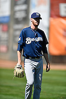 Cameron Roegner (37) of the Helena Brewers warms up in the outfield before the game against the Ogden Raptors in Pioneer League action at Lindquist Field on July 16, 2016 in Ogden, Utah. Ogden defeated Helena 5-4. (Stephen Smith/Four Seam Images)