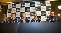 Arena Loire,  Trélazé,  France, 13 April, 2016, Semifinal FedCup, France-Netherlands, Press-conference Dutch team<br /> Photo: Henk Koster/Tennisimages