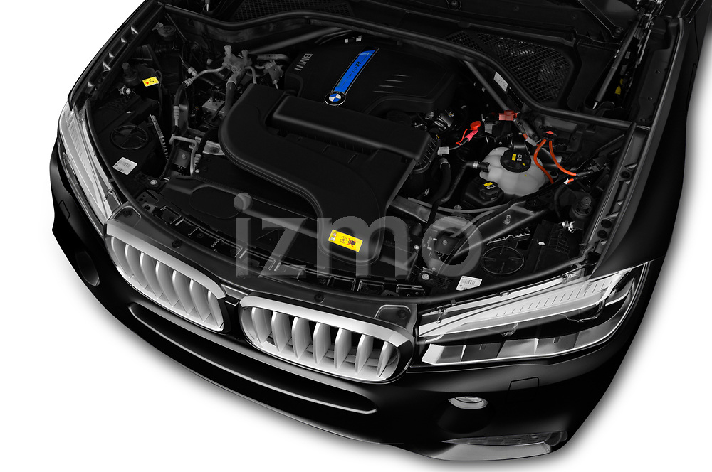 Car stock 2018 BMW X5 xDrive40e 4WD 5 Door SUV engine high angle detail view