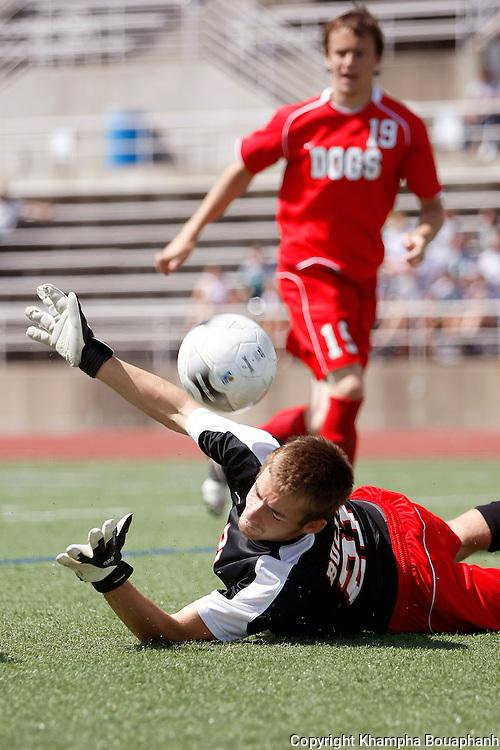 Kilgore's goal keeper Corey Thompson makes a save against Frisco Wakeland in a region II 4A boys high school soccer in Carrollton on April 3, 2010.  Wakeland won 2-0.  (photo by Khampha Bouaphanh)