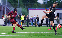 20200723, BEVEREN ,  BELGIUM : Brugge's Febe Vanhaecke pictured shooting towards goal during a friendly soccer game between Bosdam Beveren and Club Brugge YLA Dames  in the preparations for the coming season 2020 - 2021 of Belgian Women's SuperLeague ,23 th of July 2020  in Beveren , Belgium . PHOTO SPORTPIX.BE | SEVIL OKTEM