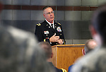 Chief Warrent Officer David Anderson speaks at a Nevada National Guard Combat Veterans Remembrance Day ceremony at the Office of the Adjutant General in Carson City, Nev., on Friday, April 17, 2015. A tribute wall with the names of about 2,700 Nevada National Guard Soldiers and Airmen deployed into combat zones since Sept. 11, 2001 was unveiled. <br /> Photo by Cathleen Allison
