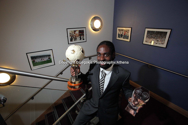 Pictured: Nathan Dyer with his Supporters Player of the Year award. Wednesday 04 May 2011<br /> Re: Swansea City FC supporters Trust annual dinner at the Liberty Stadium, Swansea, south Wales.