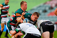 28th March 2021; Mattoli Woods Welford Road Stadium, Leicester, Midlands, England; Premiership Rugby, Leicester Tigers versus Newcastle Falcons; Jasper Wiese of Leicester Tigers is tackled by Mark Tampin of Newcastle Falcons