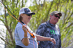 Adrienne Priewe learns to fly fish with her River Buddy Rob Brehm during the Casting for Recovery fishing clinic at Bently Ranch in Gardnerville, Nev. May 4, 2018.<br /> Photo by Candice Vivien/Nevada Momentum