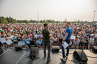 USUAA's Alex Jorgensen and Trevor Storrs, President of Alaska Children's Trust, host a rally to override the governor's vetoes of the budget featuring Grammy-winning Alaska rock band Portugal. The Man at the Alaska Airlines Center.
