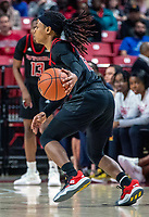 COLLEGE PARK, MD - FEBRUARY 9: Khadaizha Sanders #12 of Rutgers on the attack during a game between Rutgers and Maryland at Xfinity Center on February 9, 2020 in College Park, Maryland.