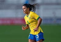 ORLANDO, FL - FEBRUARY 18: Debinha #9 of Brazil runs during a game between Argentina and Brazil at Exploria Stadium on February 18, 2021 in Orlando, Florida.