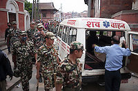 Rescue workers and an ambulance in Kathmandu, Nepal