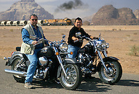 Peter Greenberg riding motorcycles with King Abdullah II of Jordan touring filming of the Royal Tour documentary
