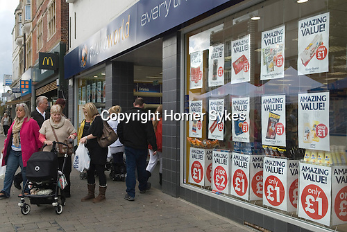 High street Pound World shop, Staines Middlesex where everything is Amazing Value and cost just one pound sterling UK. 2012, 2010s,