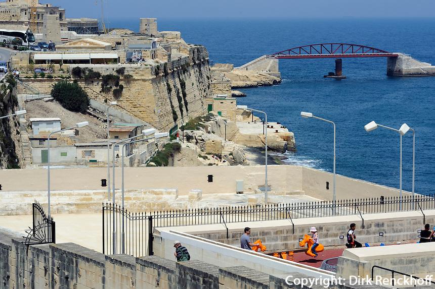 Blick von Lower Barracca Garden in Valletta, Malta, Europa, Unesco-Weltkulturerbe