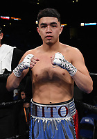 ONTARIO, CA - DECEMBER 21: Raymond Guajardo after knocking out Donnis Reed on the Fox Sports PBC Fight Night at Toyota Arena on December 21, 2019 in Ontario, California. (Photo by Frank Micelotta/Fox Sports/PictureGroup)
