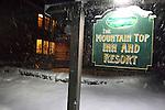 Snowy night at The Mountain Top Inn and Resort near Kilington, Vermont