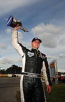 Sept. 5, 2011; Claremont, IN, USA: NHRA pro mod driver Eric Dillard celebrates after winning the US Nationals at Lucas Oil Raceway. Mandatory Credit: Mark J. Rebilas-