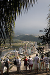 The view of Barra Sul from the eco trail through the Atlantic rainforest at the top of Parque Unipraias, and ecological theme park in Santa Catarina, Brazil