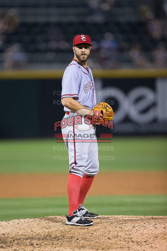 Syracuse Chiefs relief pitcher Matt Grace (21) looks to his catcher for the sign against the Charlotte Knights at BB&T BallPark on June 1, 2016 in Charlotte, North Carolina.  The Knights defeated the Chiefs 5-3.  (Brian Westerholt/Four Seam Images)