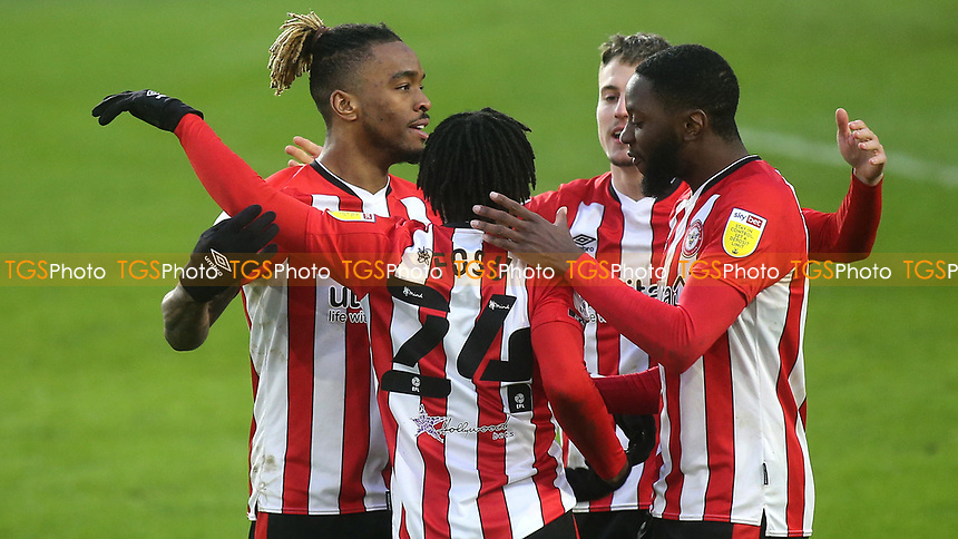 Tariqe Fosu celebrates scoring Brentford's third goal during Brentford vs Wycombe Wanderers, Sky Bet EFL Championship Football at the Brentford Community Stadium on 30th January 2021