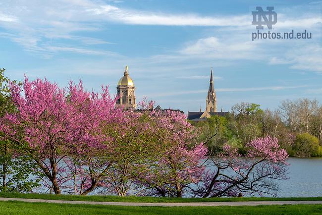 May 8, 2019; Main Building and St. Joseph Lake, 2019 Spring (Photo by Barbara Johnston/University of Notre Dame)