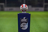 Matchball pictured before a female soccer game between  AA Gent Ladies and Femina White Star Woluwe on the third matchday of the 2020 - 2021 season of Belgian Scooore Womens Super League , friday 2 nd of October 2020  in Oostakker , Belgium . PHOTO SPORTPIX.BE | SPP | STIJN AUDOOREN