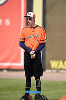Bowing Green Hot Rods pitcher Tyler Brashears (15) during practice before a game against the Burlington Bees on May 7, 2016 at Community Field in Burlington, Iowa.  Bowling Green defeated Burlington 11-1.  (Mike Janes/Four Seam Images)