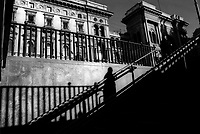 milano, palazzi e la galleria vittorio emanuele visti dall'ingresso della metropolitana in piazza duomo --- milan, buildings and the galleria vittorio emanuele seen from the entrance to the subway in duomo square