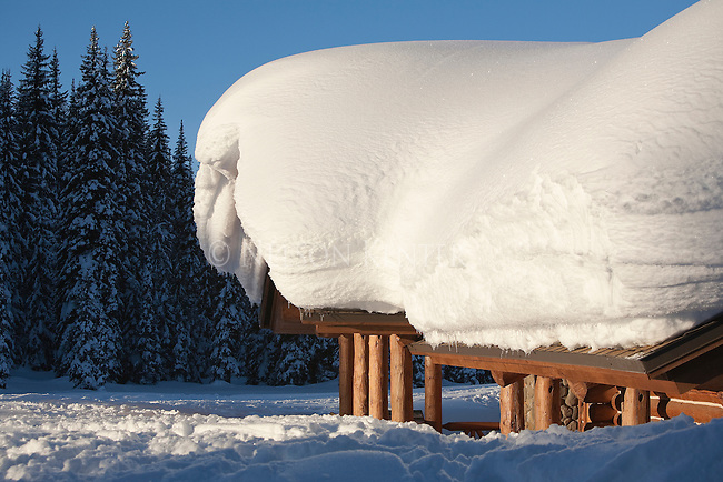 Deep snow on the roof of the Lolo Pass Visitor Center on the Montana - Idaho border
