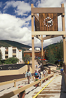 Vail, CO, Colorado, A clock tower at The Upper Plaza in the resort village of Vail in the summer.