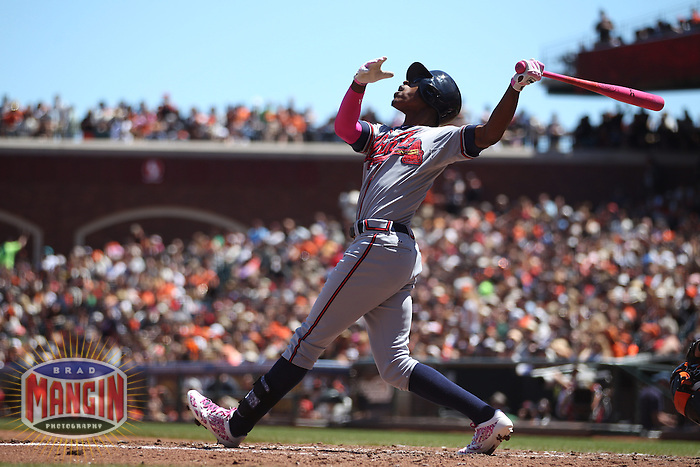 SAN FRANCISCO, CA - MAY 12:  B.J. Upton #2 of the Atlanta Braves bats with a pink bat in honor of Mother's Day and breast cancer awareness during the game against the San Francisco Giants at AT&T Park on Sunday, May 12, 2013 in San Francisco, California. Photo by Brad Mangin