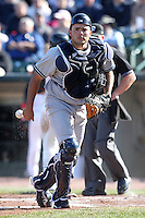 Scranton Wilkes-Barre Yankees catcher Jesus Montero #21 in the field during a game against the Rochester Red Wings at Frontier Field on April 9, 2011 in Rochester, New York.  Rochester defeated Scranton 7-6 in twelve innings.  Photo By Mike Janes/Four Seam Images