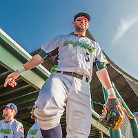 8 July 2015: Vermont Lake Monsters infielder Mikey White steps out of the dugout prior to a game against the Mahoning Valley Scrappers at Centennial Field in Burlington, Vermont. The Lake Monsters defeated the Scrappers 9-4 to open the home game series of NY Penn League action. Mandatory Credit: Ed Wolfstein Photo *** RAW Image File Available ****