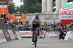 World Champion Alejandro Valverde (ESP) Movistar Team crosses the line finishing in 3rd place at the end of the 99th edition of Milan-Turin 2018, running 200km from Magenta Milan to Superga Basilica Turin, Italy. 10th October 2018.<br /> Picture: Eoin Clarke | Cyclefile<br /> <br /> <br /> All photos usage must carry mandatory copyright credit (© Cyclefile | Eoin Clarke)