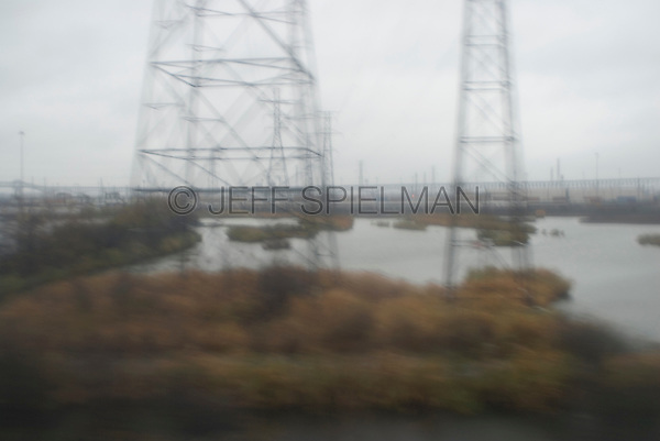 Industrial Area in the New Jersey Meadowlands, Viewed from the Window of a Moving Passenger Train, Hudson County, New Jersey, USA