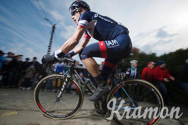 Sylvain Chavanel (FRA/IAM) up the Paterberg<br /> <br /> <br /> Dwars Door Vlaanderen 2014
