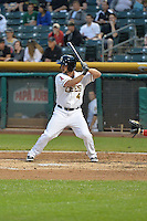 Drew Heid (4) of the Salt Lake Bees at bat against the Reno Aces at Smith's Ballpark on May 4, 2014 in Salt Lake City, Utah.  (Stephen Smith/Four Seam Images)