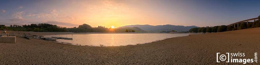 """Lac de la Gruyère"" during a dry season"