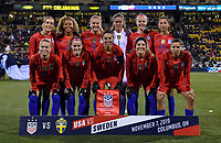 COLUMBUS, OH - NOVEMBER 07: USWNT starting eleven during a game between Sweden and USWNT at MAPFRE Stadium on November 07, 2019 in Columbus, Ohio.