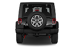 Straight rear view of a 2015 JEEP Wrangler Rubicon 3 Door Suv 4WD Rear View  stock images