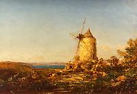 """The Mill called """"mill of Daudet"""" near Martigues - Felix Ziem (1821-1911)"""
