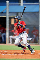 GCL Twins third baseman Roni Tapia (32) grounds out during the first game of a doubleheader against the GCL Rays on July 18, 2017 at Charlotte Sports Park in Port Charlotte, Florida.  GCL Twins defeated the GCL Rays 11-5 in a continuation of a game that was suspended on July 17th at CenturyLink Sports Complex in Fort Myers, Florida due to inclement weather.  (Mike Janes/Four Seam Images)
