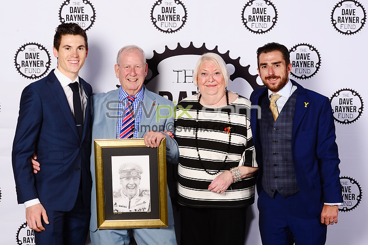 Picture by Simon Wilkinson/SWpix.com - 04/11/2017 Cycling Dave Rayner Fund Dinner 2017 New Dock Yard Royal Armouries, Leeds - John and Barbara Rayner Ben Swift and Russ Downing