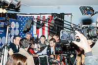 Texas senator and Republican presidential candidate Ted Cruz speaks to the media before a speech at The Village Trestle restaurant in Goffstown, New Hampshire, on Wed., Feb. 3, 2016.