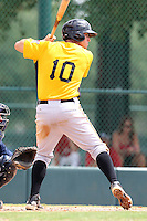 GCL Pirates first baseman Jared Lakind #10 at bat during a game against the GCL Braves at Disney Wide World of Sports on June 25, 2011 in Kissimmee, Florida.  The Pirates defeated the Braves 5-4 in ten innings.  (Mike Janes/Four Seam Images)