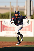 Antonio Nunez (7) of the Lancaster JetHawks runs the bases during a game against the San Jose Giants during the second game of a doubleheader at The Hanger on July 14, 2016 in Lancaster, California. Lancaster defeated San Jose, 3-0. (Larry Goren/Four Seam Images)