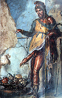 Ancient Erotica:  Priapus weighing his member.  House of the Vetti, Pompeii.  Photo '84.