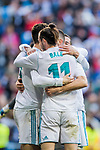 Gareth Bale of Real Madrid celebrates with teammates during the La Liga 2017-18 match between Real Madrid and Deportivo Alaves at Santiago Bernabeu Stadium on February 24 2018 in Madrid, Spain. Photo by Diego Souto / Power Sport Images